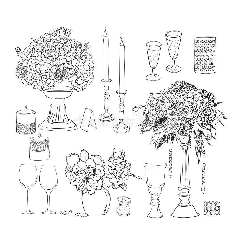 Uppsättning av bröllopgarneringar och objekt Färgpulvervektoruppsättning Den drog handen blommar i vas vektor illustrationer