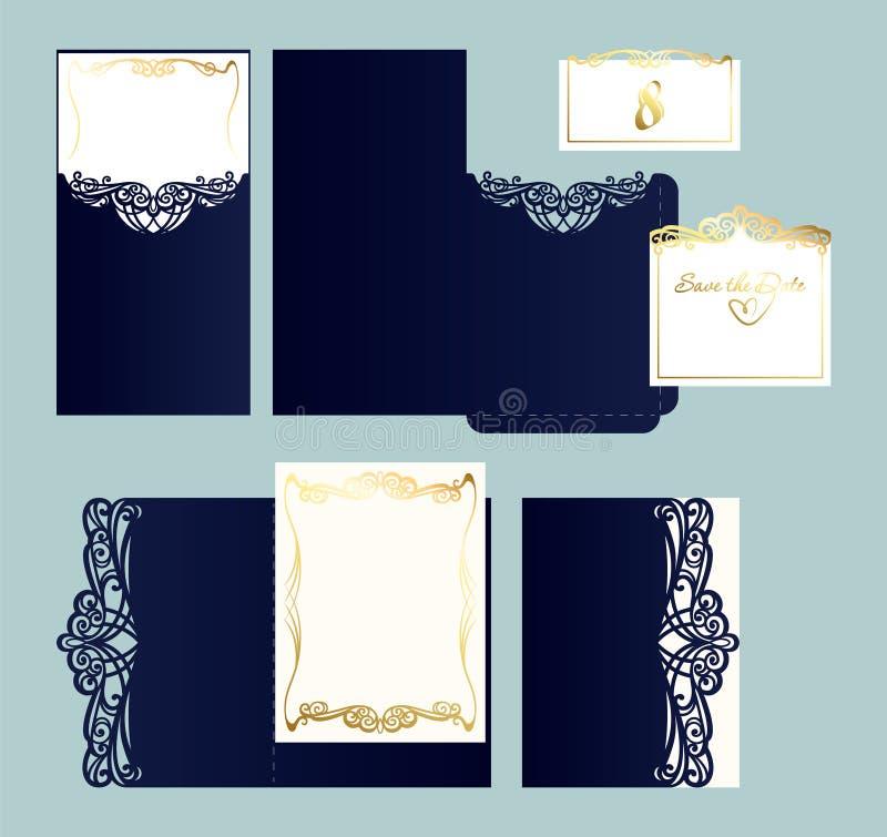 Uppsättning av bröllopinbjudan- eller hälsningkortet med den guld- prydnaden royaltyfri illustrationer