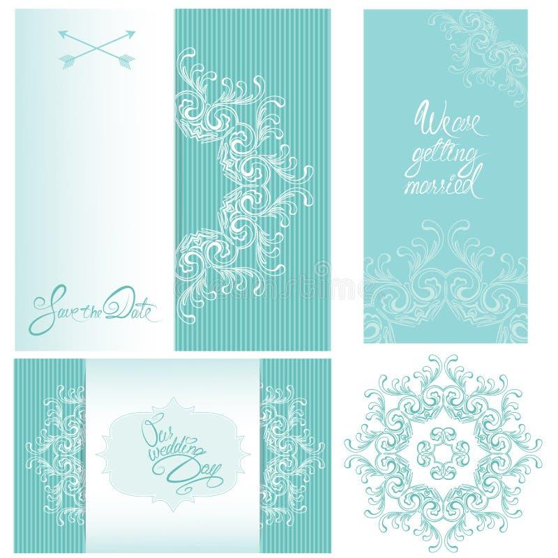 Uppsättning av bröllopinbjudankort med blom- beståndsdelar stock illustrationer