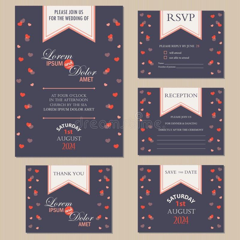 Uppsättning av bröllopinbjudankort med hjärtor vektor illustrationer