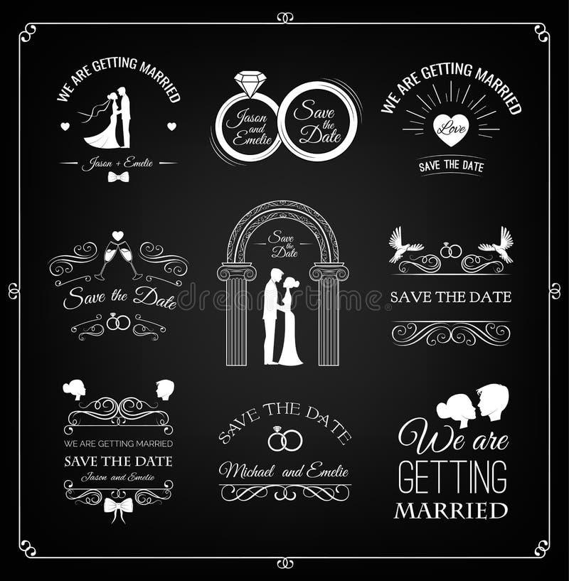 Uppsättning av bröllopinbjudanmallen Calligraphic ramar, blom- modeller och baner på Black vektor vektor illustrationer