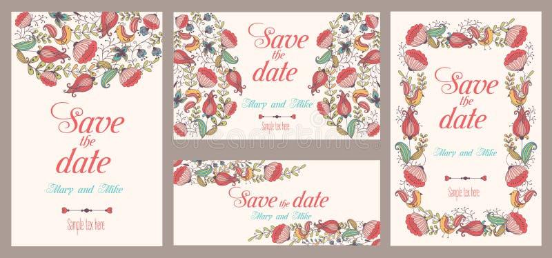 Uppsättning av bröllopinbjudningar Beståndsdelar för kort för tappning blom- och antika dekorativa, stock illustrationer
