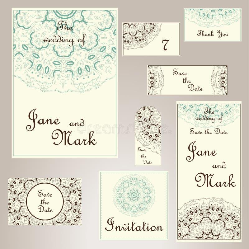 Uppsättning av bröllopinbjudningar Mall för bröllopkort med individu royaltyfri illustrationer