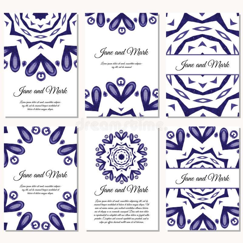 Uppsättning av bröllopinbjudningar Mall för bröllopkort med individu stock illustrationer