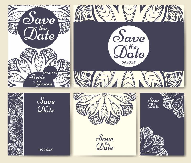 Uppsättning av bröllopinbjudningar Mall för bröllopkort med individuellt begrepp Planlägg för inbjudan, tacka dig att card, spara vektor illustrationer