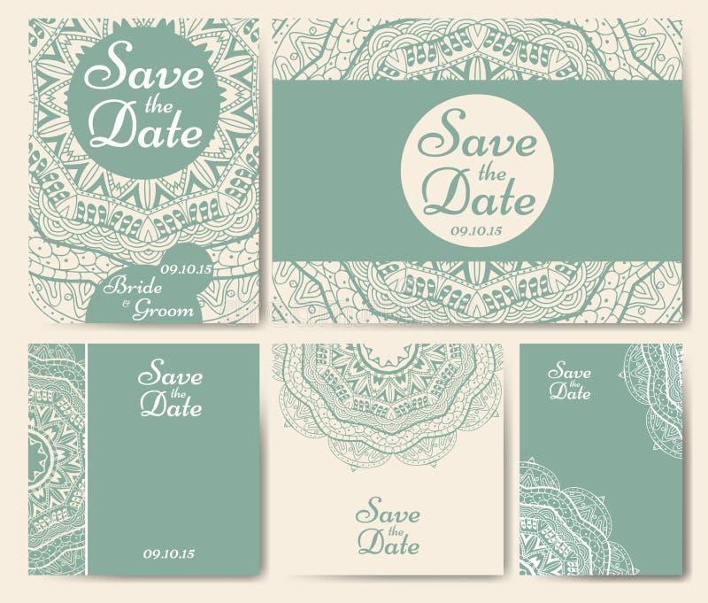 Uppsättning av bröllopinbjudningar Mall för bröllopkort med individuellt begrepp Planlägg för inbjudan, tacka dig att card, spara royaltyfri illustrationer