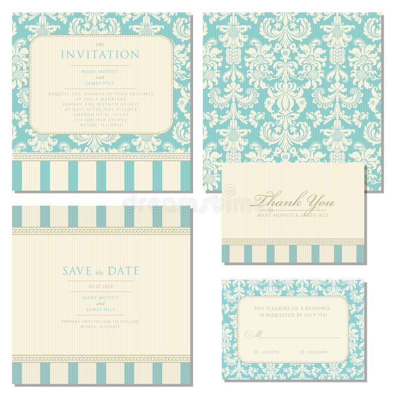 Uppsättning av bröllopinbjudningar med tappningbakgrund vektor illustrationer