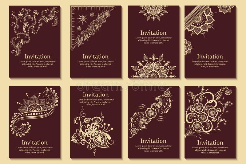 Uppsättning av bröllopinbjudningar och meddelandekort med prydnaden i arabisk stil Arabesquemodell stock illustrationer