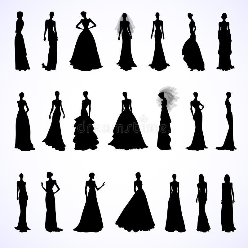 Uppsättning av bröllopsklänningar stock illustrationer