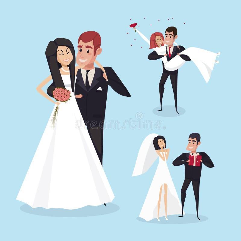 Uppsättning av brölloptecknad filmlägen med bruden och brudgummen Teckendesignen vektor stock illustrationer
