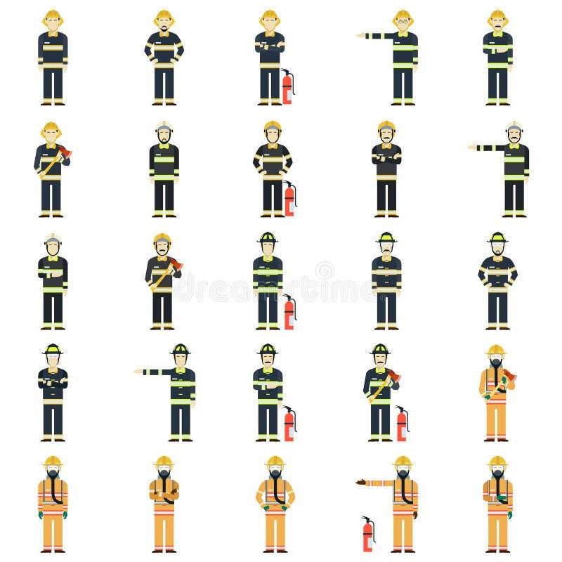Uppsättning av brandmän stock illustrationer