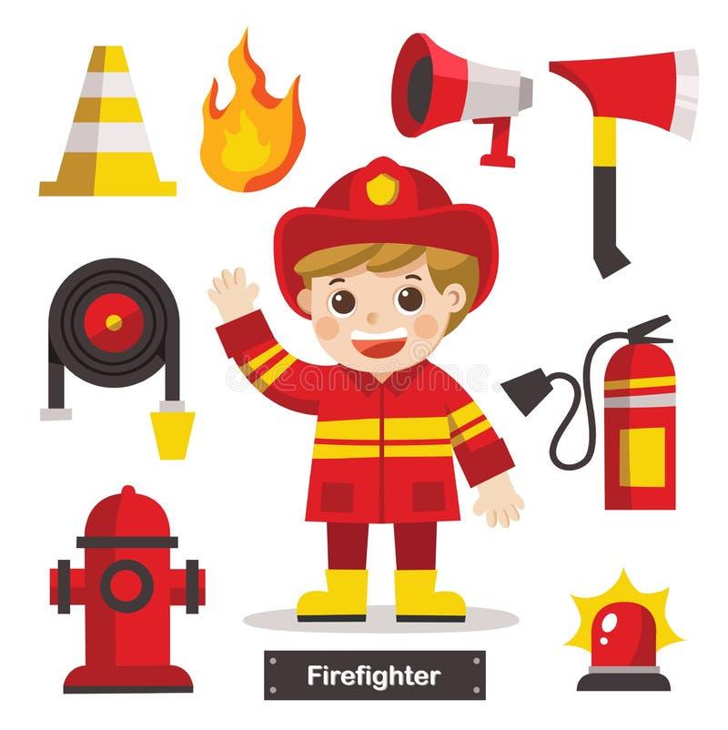 Uppsättning av brandmannen med brandsäkerhetsutrustningar vektor illustrationer