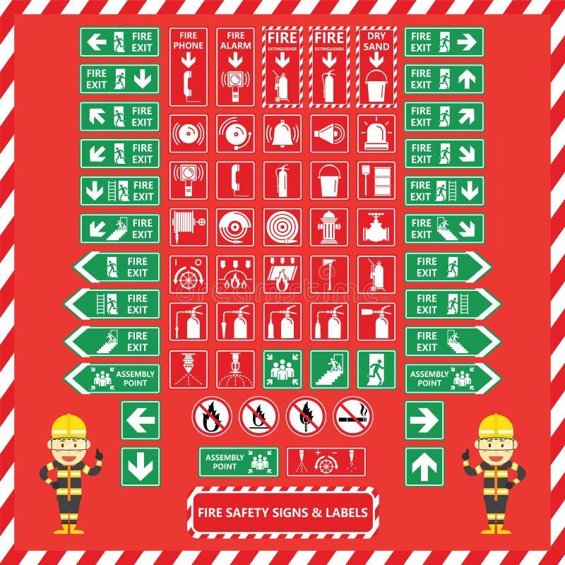 Uppsättning av brandsäkerhetstecken och etiketter vektor illustrationer
