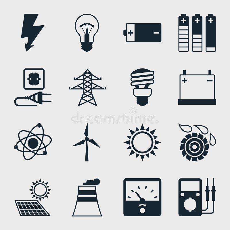 Uppsättning av branschmaktsymboler i plan designstil stock illustrationer