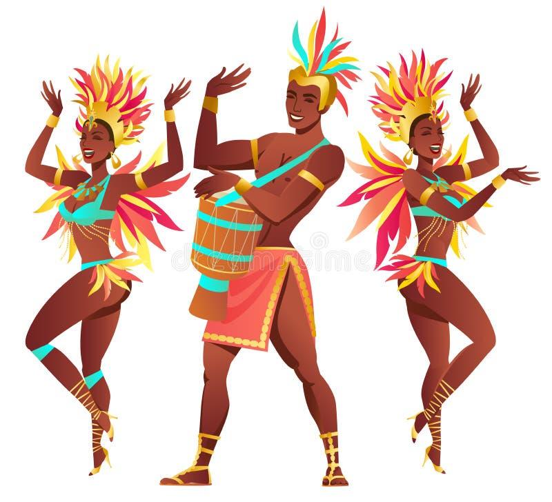 Uppsättning av brasilianska sambadansare Rio de Janeiro Dans för för vektorkarnevalflickor och grabb vektor illustrationer