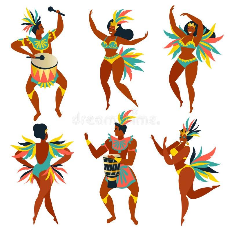 Uppsättning av brasilianska sambadansare Rio de Janeiro Dans för för vektorkarnevalflickor och grabb stock illustrationer