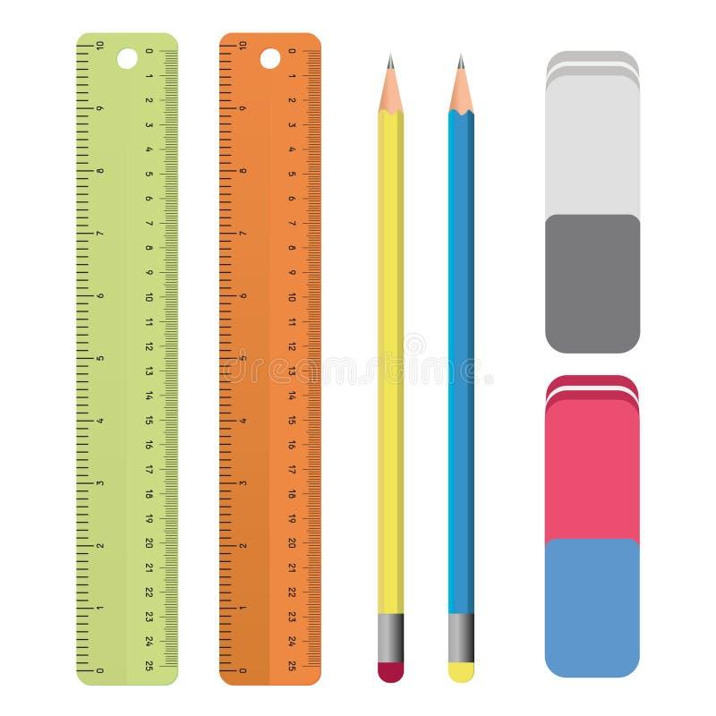 Uppsättning av brevpapperhjälpmedelöversikter: linjal blyertspenna, radergummi Skolatillförsel som drar uppsättningen i vektor royaltyfri illustrationer