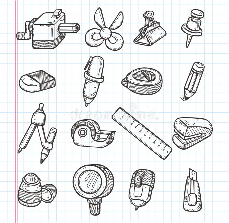 Uppsättning av brevpappersymboler royaltyfri illustrationer