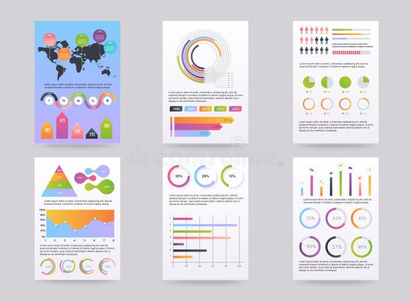 Uppsättning av brohucres med infographic beståndsdelar i modern plan stil stock illustrationer