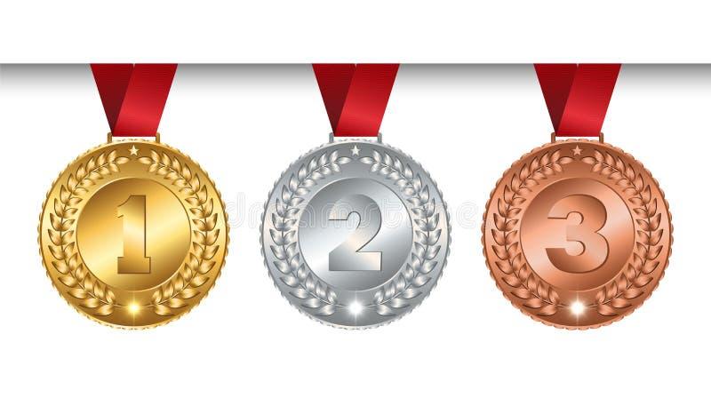 Uppsättning av brons för silver för vektorvinnaremedaljer guld- för mästare med det röda bandet, tecken av det första, and stock illustrationer