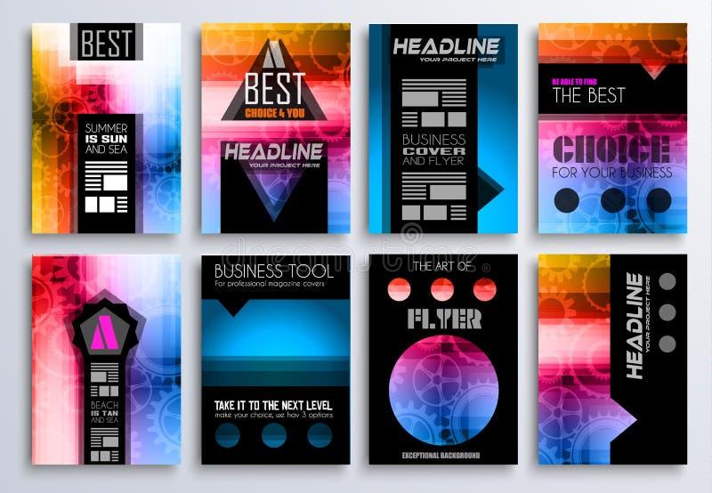 Uppsättning av broschyr, reklamblad och orienteringsmallar för dig projekt stock illustrationer