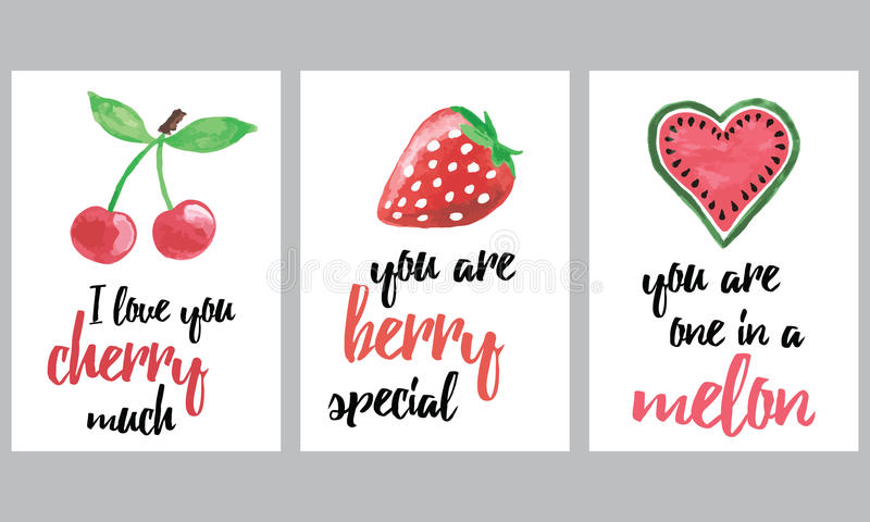 Uppsättning av broschyrer med frukter och bär Drog fruktbaner in för vektor ställde handen med inspirationcitationstecken vektor illustrationer