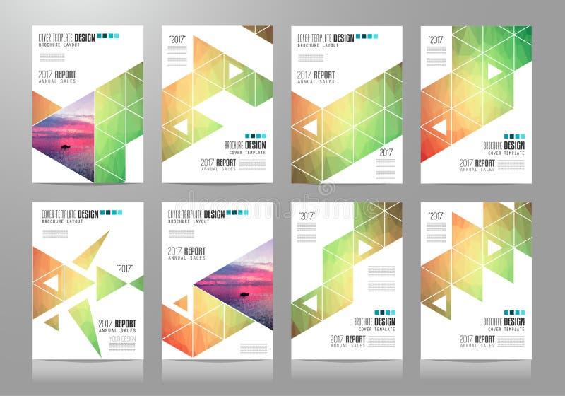 Uppsättning av broschyrmallar, reklambladdesigner eller Depliant räkningar för affär stock illustrationer