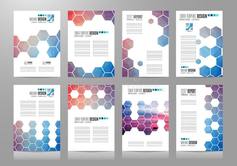 Uppsättning av broschyrmallar, reklambladdesigner eller Depliant räkningar för affär royaltyfri illustrationer