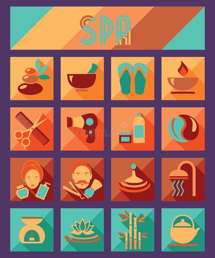 Uppsättning av brunnsort och plana symboler för skönhet Sjukvårdsalong stock illustrationer