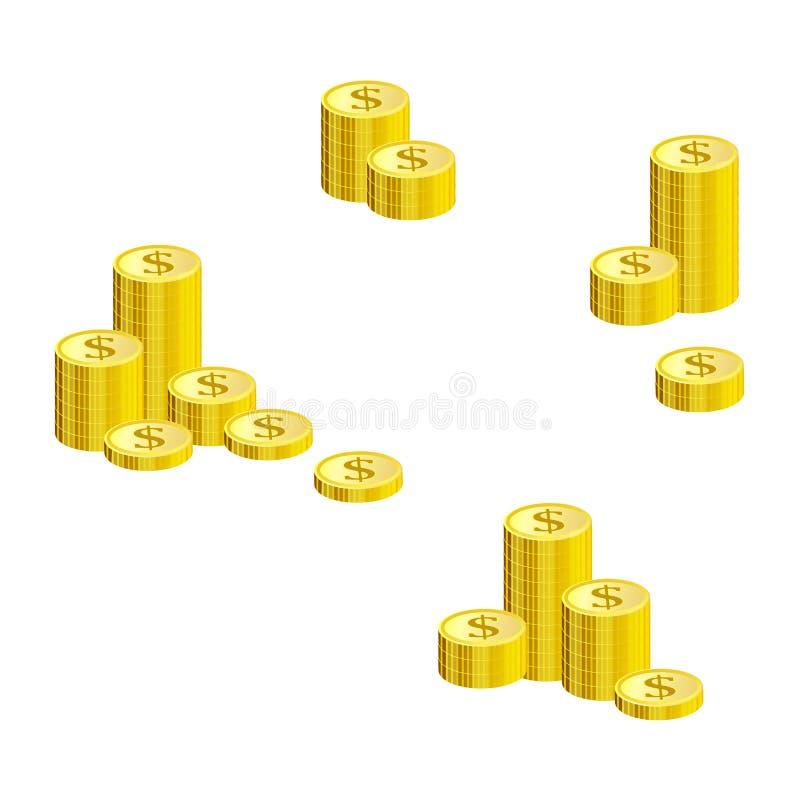 Uppsättning av buntar av guld- dollarmynt som isoleras på vit bakgrund stock illustrationer