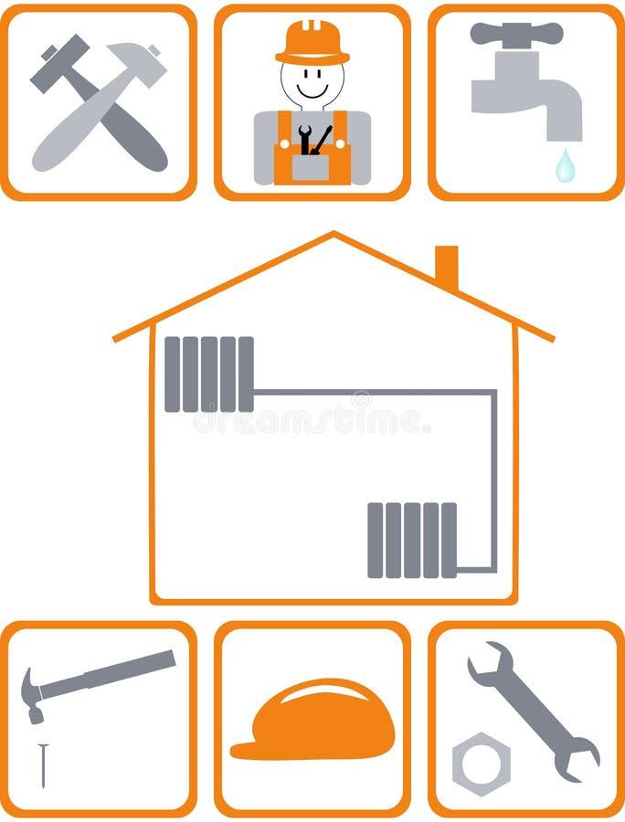 Uppsättning av byggande av Simbols i plan design stock illustrationer