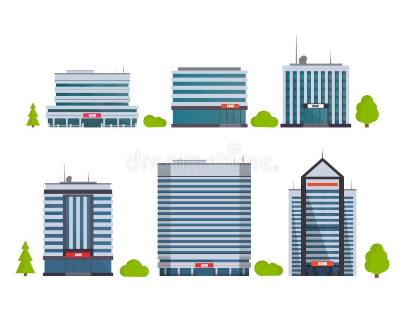 Uppsättning av byggnader i plan stil stadsdesignen houses illustrationen dig också vektor för coreldrawillustration vektor illustrationer