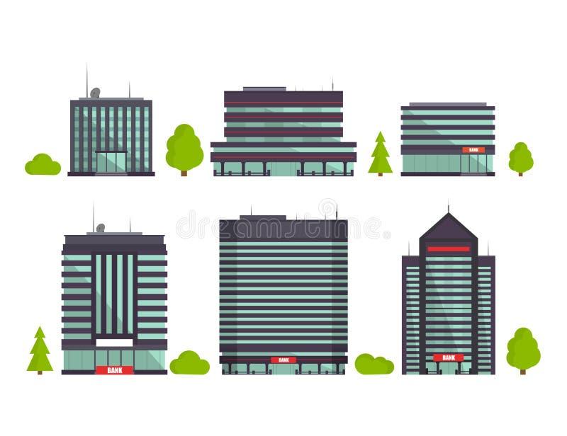 Uppsättning av byggnader i plan stil stadsdesignen houses illustrationen dig också vektor för coreldrawillustration stock illustrationer