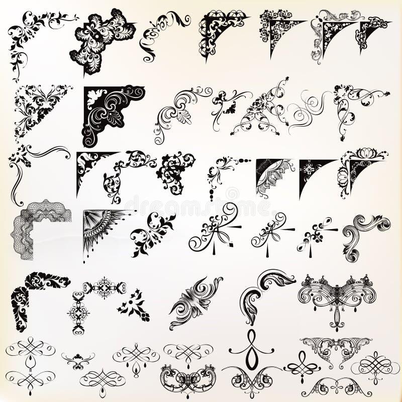 Uppsättning av calligraphic beståndsdelar för vektor och sidagarneringar royaltyfri illustrationer