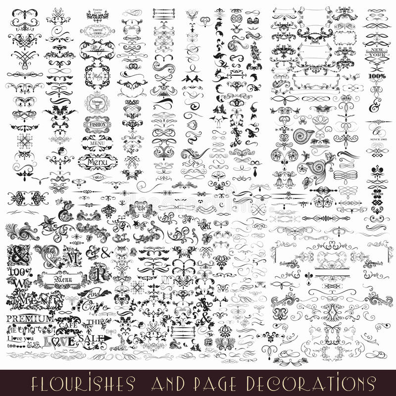 Uppsättning av calligraphic beståndsdelar för vektor och sidagarneringar vektor illustrationer