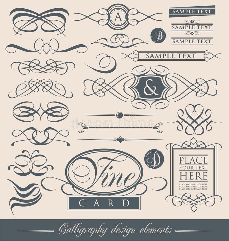 Uppsättning av calligraphic designbeståndsdelar för tappning och vektorsidagarneringar. royaltyfri illustrationer