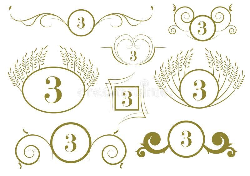 Uppsättning av calligraphic designbeståndsdelar för tappning och vektorsidagarneringar stock illustrationer