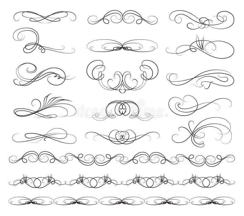 Uppsättning av Calligraphic linjer vektor illustrationer