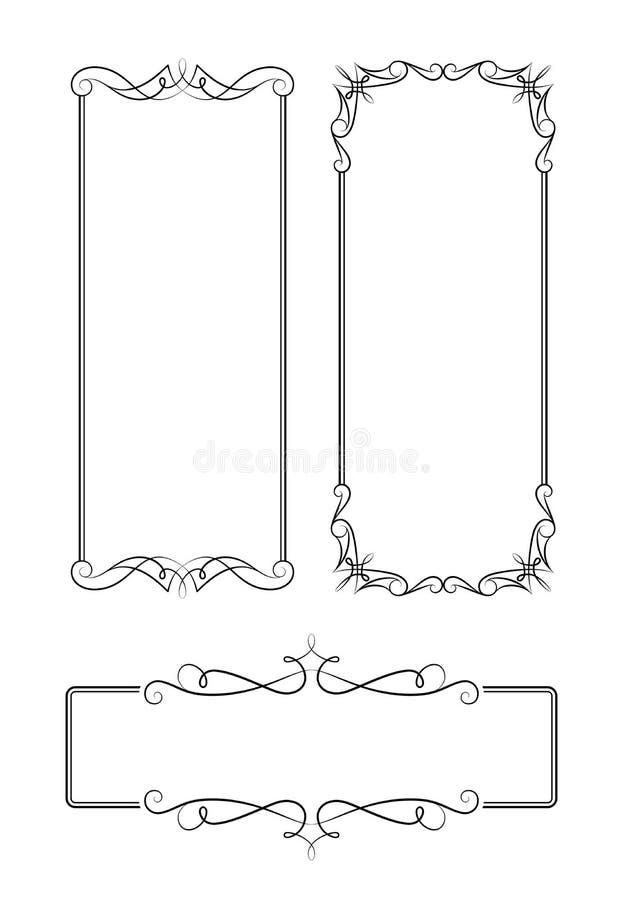 Uppsättning av calligraphic rektangelramar för tappning vektor illustrationer