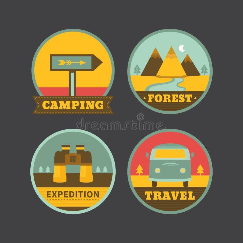 Uppsättning av campa logoer för tappning stock illustrationer