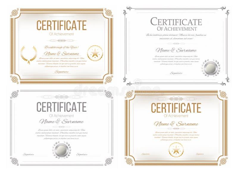 Uppsättning av certifikat av gillande Tilldela certifikatet, diplommall i retro stil stock illustrationer