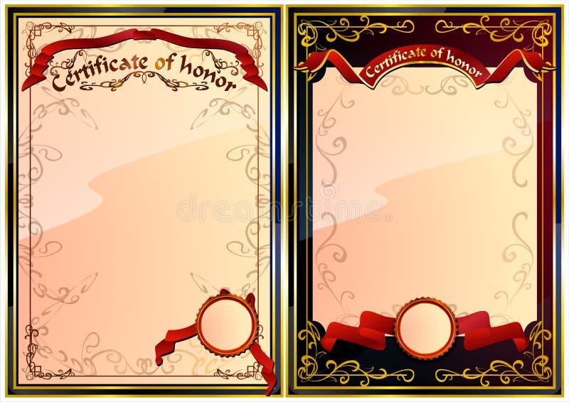 Uppsättning av certifikatet av heder. 02 (vektor) royaltyfri illustrationer