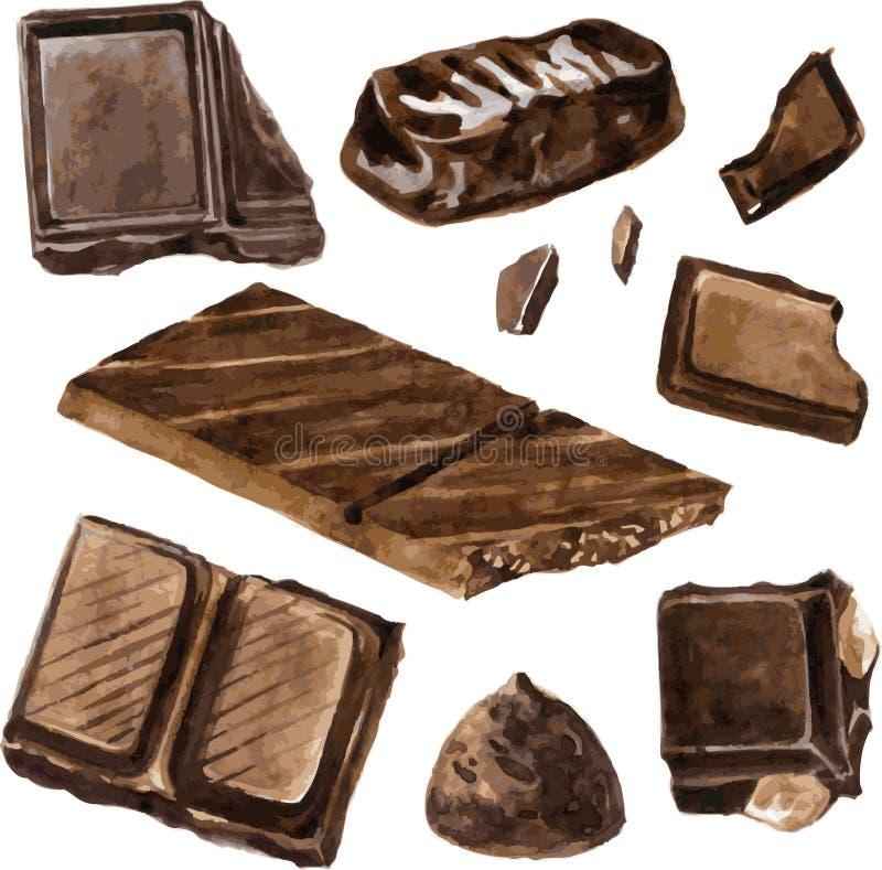 Uppsättning av choklader som drar vid vattenfärgen stock illustrationer