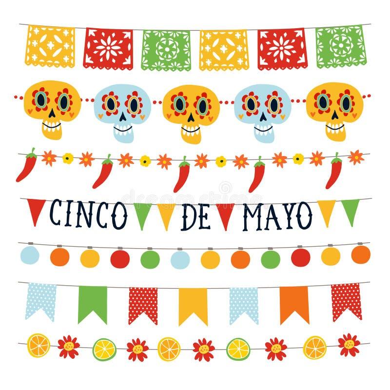 Uppsättning av Cinco de Mayo feriegirlander med ljus, bunting flaggor, dekorativa skallar, blommor, jalapenospeppar vektor illustrationer