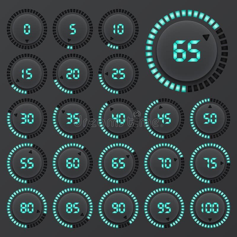Uppsättning av cirkeldiagram för affärsinfographics Framstegstång för rengöringsdukdesign beståndsdelar för 3d Infographic Mörker vektor illustrationer