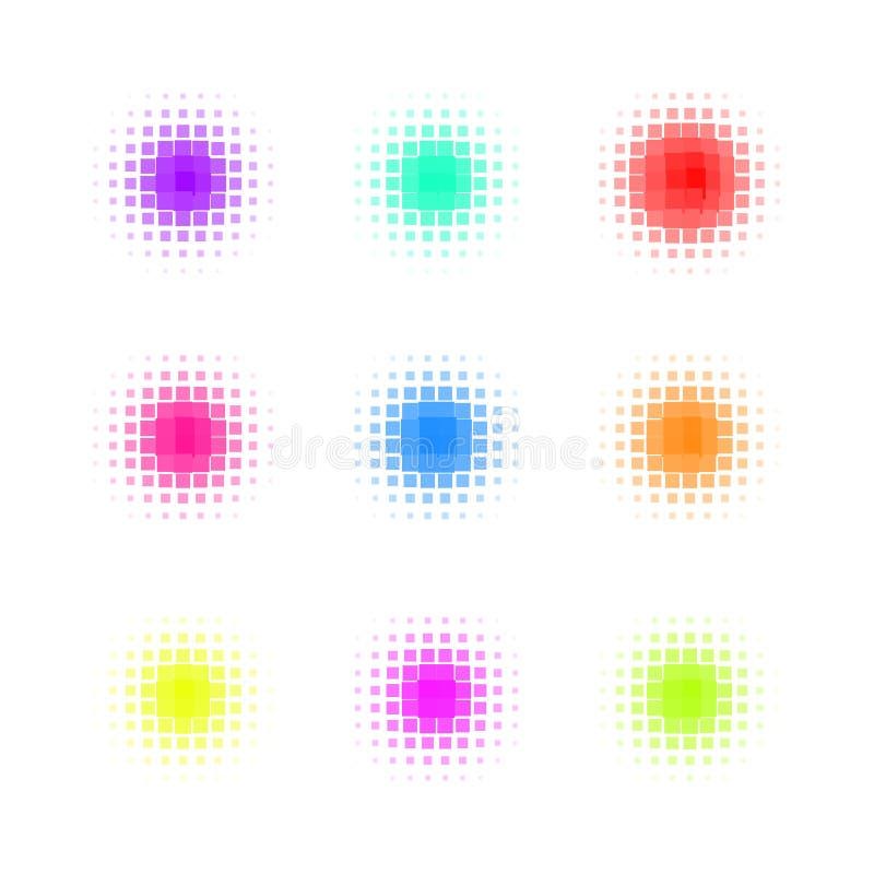 Uppsättning av cirkeln färgrika fyrkantiga Dot Banners bullersamt vektor illustrationer