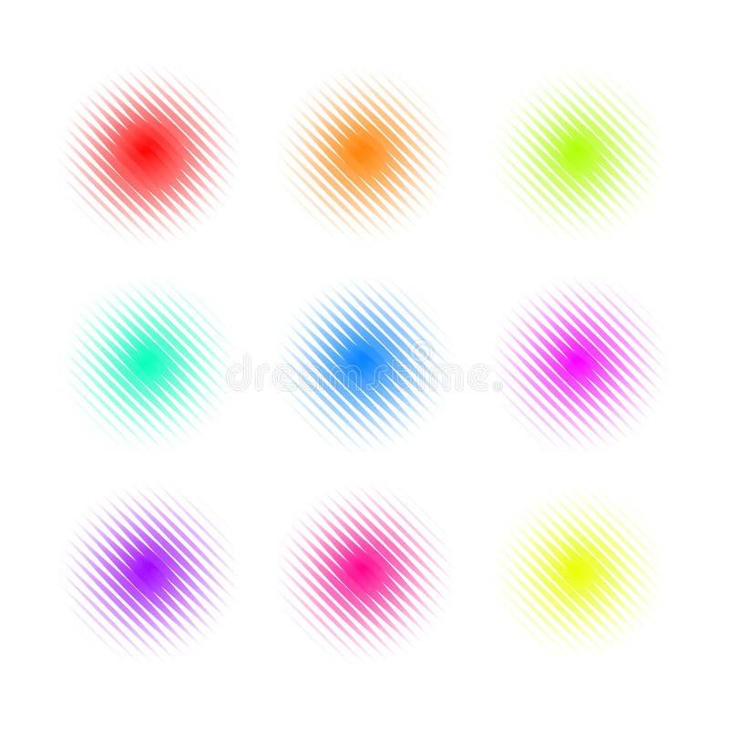 Uppsättning av cirkeln färgrika fyrkantiga Dot Banners Bullriga runda begrepp royaltyfri illustrationer