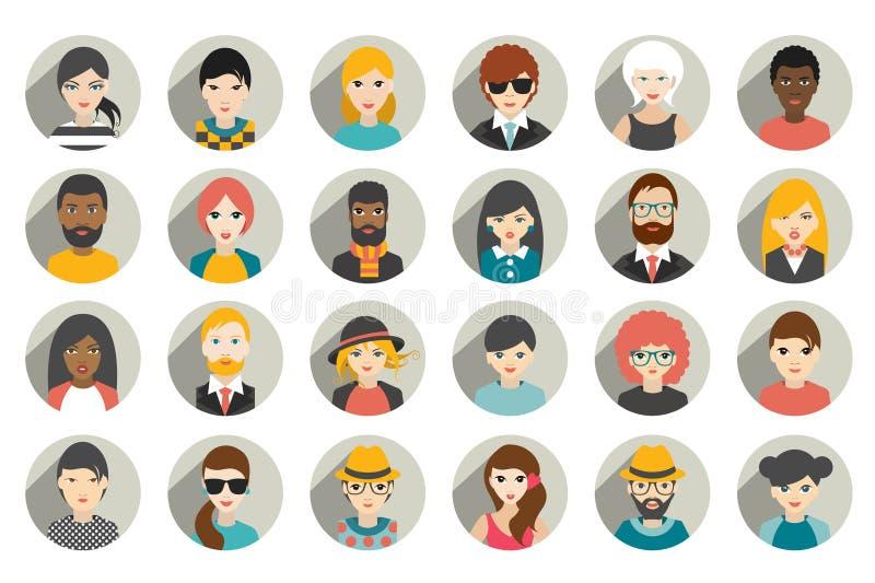 Uppsättning av cirkelpersoner, avatars, olik nationalitet för folkhuvud i plan stil stock illustrationer