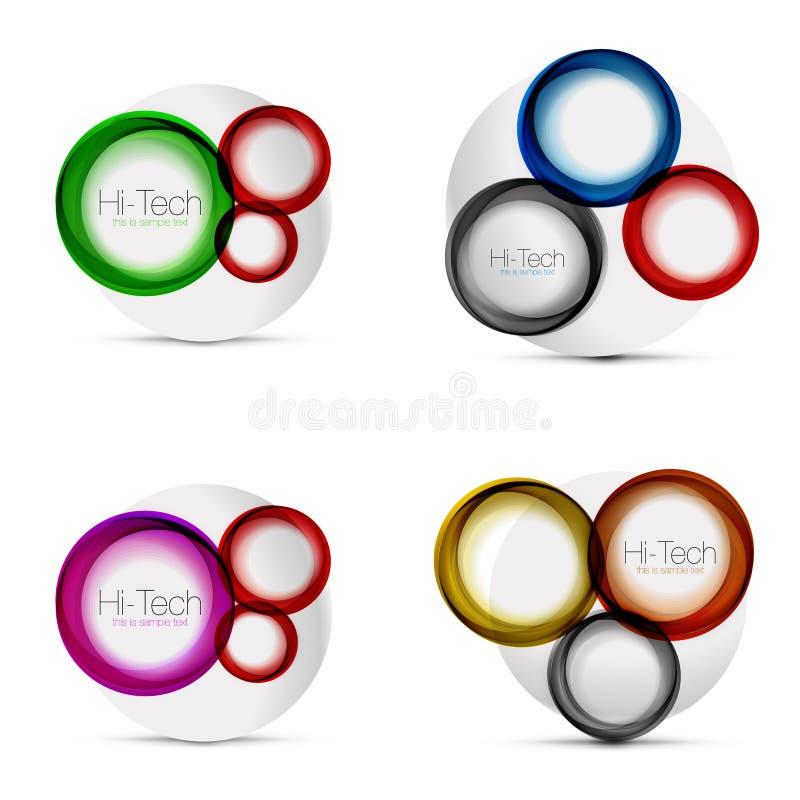 Uppsättning av cirkelrengöringsdukorienteringar - runda former för digital techno - rengöringsdukbaner, knappar eller symboler me stock illustrationer