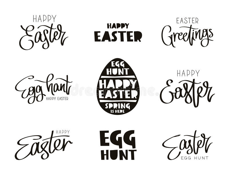Uppsättning av citationstecken för den lyckliga påsken för ferie stock illustrationer